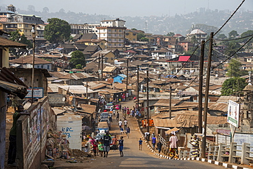 View over the slums of Freetown, Sierra Leone, West Africa, Africa