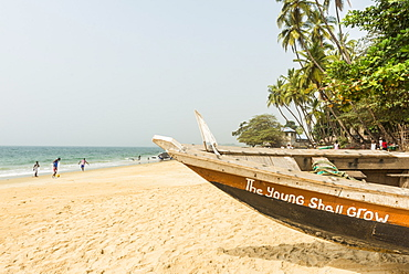 Local fishing boats on Bukeh Beach, Sierra Leone, West Africa, Africa