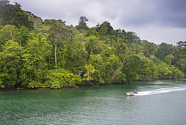 Little boat on a river in the jungle of Manus or Admirality islands, Papua New Guinea