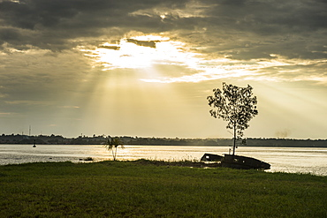 Sunset over the Maroni River, Saint Laurent du Maroni, French Guiana, Department of France, South America