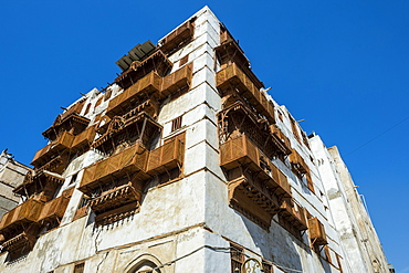 Traditional houses in the old town of Jeddah, UNESCO World Heritage Site, Saudi Arabia, Middle East