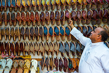 Traditional shoe shop in the old town of Jeddah, Saudi Arabia, Middle East