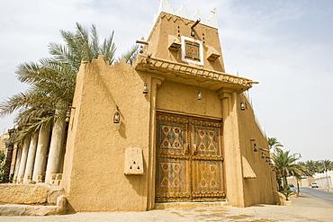 Beautiful coloured door, Diriyah, UNESCO World Heritage Site, Riyadh, Saudi Arabia