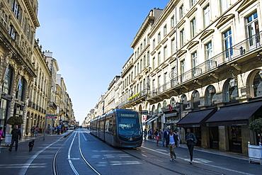 Tram rolling through the historic quarter of Bordeaux, Aquitaine, France, Europe