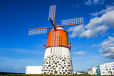 Restored windmill in Madalena, Island of Pico, Azores, Portugal, Atlantic, Europe