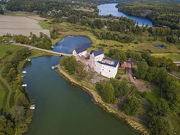 Aerial of Kastelholm Castle, Aland, Finland, Europe