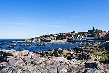 View over the town of Gudhjem, Bornholm, Denmark, Scandinavia, Europe