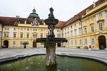 Fountain in the Prelates Courtyard in Melk Abbey, UNESCO World Heritage Site, Wachau, Austria, Europe