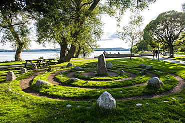 Viking granite pillars, Sigtuna, oldest town of Sweden, Scandinavia, Europe