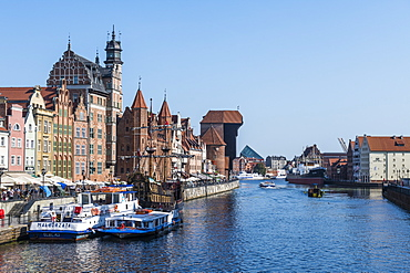 Hanseatic League houses on the Motlawa River, Gdansk. Poland, Europe