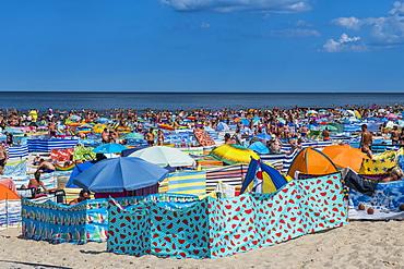 Very busy beach in Leba, Baltic Sea, Poland, Europe