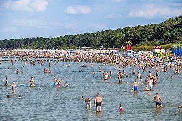 Busy beach in Ustka, Baltic Sea, Poland, Europe