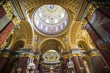 Beautiful interior of the St. Stephen's Basilica, Budapest, Hungary, Europe