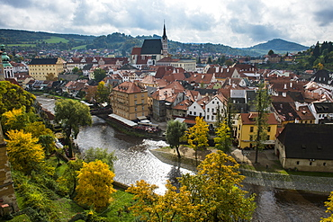 View over Cesky Krumlov and the Vltava River, Czech Republic, Europe