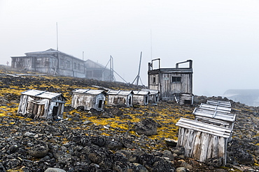 Polar huskies boxes in the historical meteorological station Sedov in Tikhaya Bay on Hooker island, Franz Josef Land archipelago, Arkhangelsk Oblast, Arctic, Russia, Europe