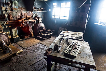 Historical workplace in the meteorological station Sedov in Tikhaya Bay on Hooker island, Franz Josef Land archipelago, Arkhangelsk Oblast, Arctic, Russia, Europe