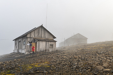 Historical meteorological station Sedov in Tikhaya Bay on Hooker island, Franz Josef Land archipelago, Arkhangelsk Oblast, Arctic, Russia, Europe