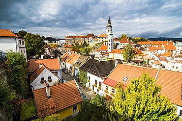 View over the city, UNESCO World Heritage Site, Cesky Krumlov, Czech Republic, Europe