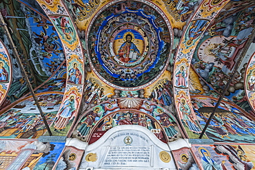 Christian wall paintings, Rila Monastery, UNESCO World Heritage Site, Rila mountains, Bulgaria, Europe