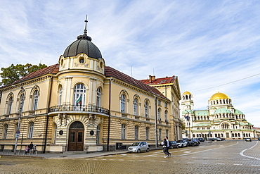 Library of Bulgarian Academy of Sciences with Nevsky Cathedral, Sofia, Bulgaria, Europe