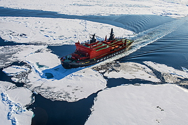 Aerial of the Icebreaker '50 years of victory' on its way to the North Pole, Arctic