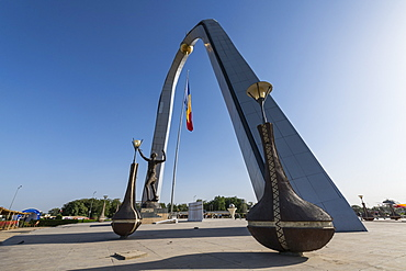 Backlight of the monument of Independence, Place de la Nation, N'Djamena, Chad, Africa