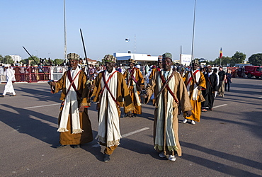 Traditional Toubou dance, tribal festival, Place de la Nation, N'Djamena, Chad, Africa