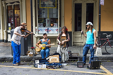 Street musicians in the French Quarter, New Orleans, Louisiana, United States of America, North America