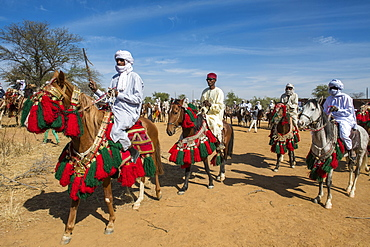 Colourful horse and riders at a Tribal festival, Sahel, Chad, Africa