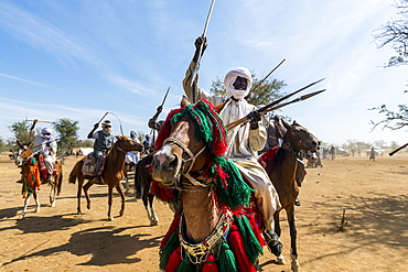 Colourful horse rider at a Tribal festival, Sahel, Chad, Africa