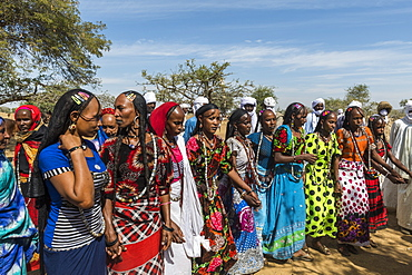 Colourful dressed women at a tribal festival, Sahel, Chad, Africa