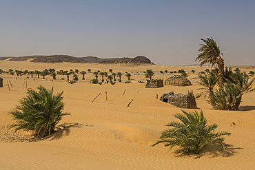 Little village in the desert between Ounianga Kebir and Faya, northern Chad, Africa