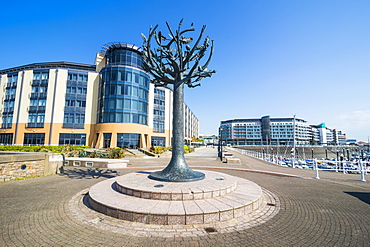 Modern sculpture in the harbour of St. Helier, Jersey, Channel Islands, United Kingdom, Europe