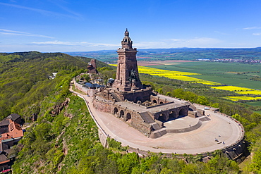 Drone aerial of the Kyffhaeuser Monument, Barbarossa monument, Thuringia, Germany, Europe