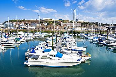 Sport boat harbour, St. Helier, Jersey, Channel Islands, United Kingdom, Europe