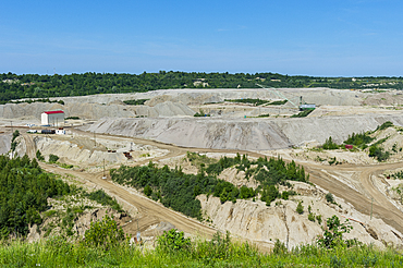 Open pit at the Primorskoye amber mine, Yantarny, Kaliningrad, Russia, Europe