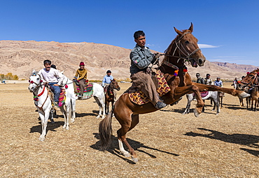 Men practising a traditional Buzkashi game, Yaklawang, Afghanistan, Asia