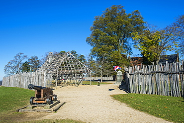 Wood fenced english settlement Jamestown, Virginia, United States of America, North America