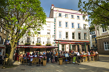 Open air pub on the Royal Square in St. Helier, Jersey, Channel Islands, United Kingdom, Europe