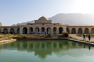 Indian style Tashkurgan Palace former summer palace of the king, outside Mazar-E-Sharif, Kholm, Afghanistan, Asia