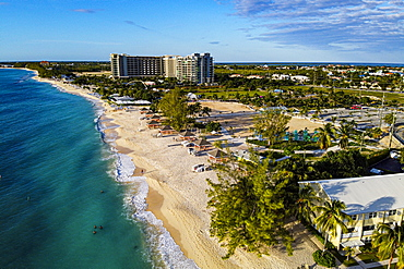 Aerial of the Seven Mile Beach, Grand Cayman, Cayman Islands, Caribbean, Central America