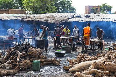Locals tanning cattle skins, Central market, Niamey, Niger, West Africa, Africa