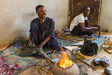 Man working on Jewllery in the UNESCO World Heritage Site, Agadez, Niger, West Africa, Africa