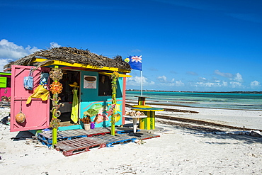 Colourful shop on Five Cay beach, Providenciales, Turks and Caicos, Caribbean, Central America