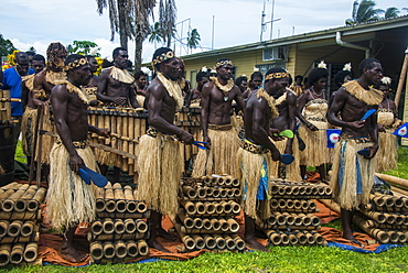 Bamboo band traditionally dressed, Buka, Bougainville, Papua New Guinea, Pacific