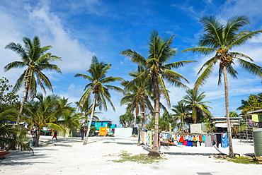Clothes drying in the open sun, Funafuti, Tuvalu, South Pacific