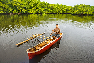 Man in his dugout canoe, Kosrae, Federated States of Micronesia, South Pacific