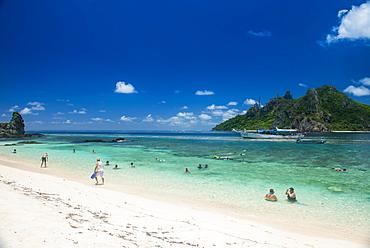 Beautiful white sand beach on Monuriki Island (Cast Away Island), Mamanuca Islands, Fiji, South Pacific