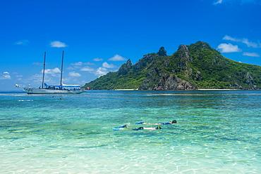 Very clear turquoise waters on Monuriki Island (Cast Away Island), Mamanuca Islands, Fiji, South Pacific