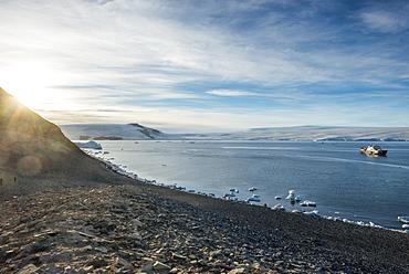Icebreaker anchoring on Paulet Island, Antarctica, Polar Regions
